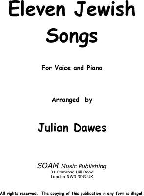 Picture of Sheet music  for voice and piano by Julian Dawes. Eleven arrangements of Jewish melodies for Mezzo Soprano or Baritone and Piano