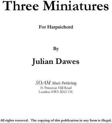 Picture of Sheet music  for harpsichord and piano by Julian Dawes. Three short pieces for Harpsichord