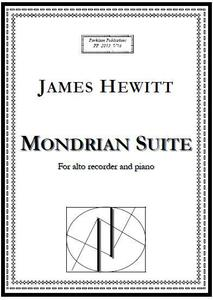 Picture of Sheet music  for alto recorder and piano by James Hewitt. Mondrian Suite consists of four movements each inspired by a painting by Pierre Mondrian.
