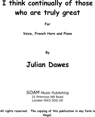 Picture of Sheet music  by Julian Dawes. A setting of a poem by Stephen Spender for High Voice, French Horn and Piano