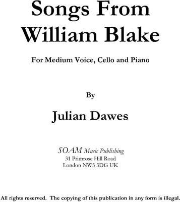 Picture of Sheet music  for mezzo-soprano, tenor, cello and piano by Julian Dawes. A setting of poems by William Blake For Medium Voice, Cello and Piano