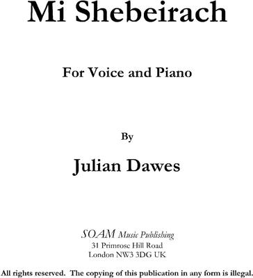 Picture of Sheet music  for voice and piano by Julian Dawes. A concert setting of a liturgical prayer
