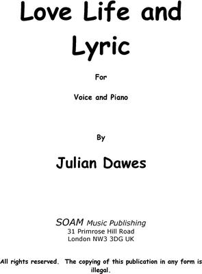 Picture of Sheet music  for voice and piano by Julian Dawes. A Song Cycle Setting Poems by Marketa J. Zvelebil