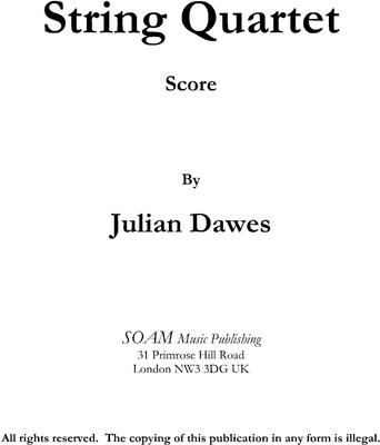 Picture of Sheet music  for violin, violin, viola and cello by Julian Dawes. String Quartet in four movements