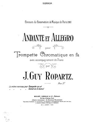 Picture of Sheet music for Trumpet in C and piano by J. Guy Ropartz