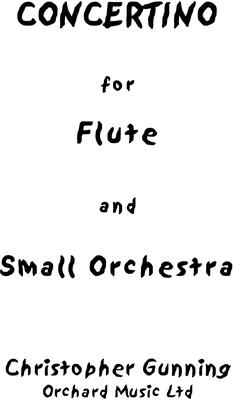Picture of Sheet music  for flute, clarinet, bassoon, french horn and string orchestra by Christopher Gunning. Full score, Concertino for Flute and small orchestra in 3 movements, approx 21 minutes. Recorded by Catherine Handley with the Royal Philharmonic Orchestra conducted by the composer. Discovery - DMV104