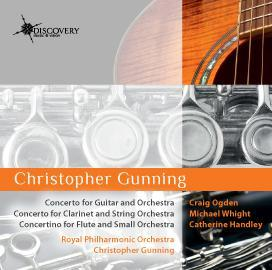 """Picture of Gunning, Christopher : Concerto for guitar & orchestra (""""Requerdos do Mallorca"""", Concerto for clarinet & orchestra, Concertino for flute & orchestra.    Artist: Michael Whight, Craig Ogden, Royal Philharmonic Orchestra and Catherine Handley"""