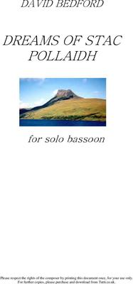 Picture of Sheet music  by David Bedford. Dreams of Stac Pollaidh for solo bassoon.