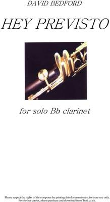 Picture of Sheet music  by David Bedford. Piece for solo Bb Clarinet.
