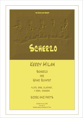 """Picture of Sheet music  for flute, oboe, clarinet, french horn and bassoon by Kerry Milan. A short (3'30"""") challenging scherzando movement for wind quintet, perfect to round off a concert!"""