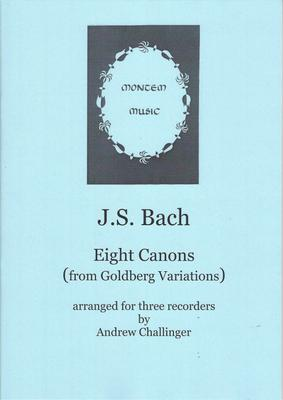 Picture of Sheet music  by Johann Sebastian Bach. The eight 3-part canons from Bach's Goldberg Variations arranged for three recorders. All canons include bass; some need treble, some tenor, some a single descant, others two descants and one needs a sopranino.