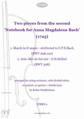 Picture of Sheet music  for violin, violin, viola, cello, cello and double bass by (Bach family). i) March in D major, attributed to C.P.E.Bach ii) Aria 'Bist du bei Mir' from Stölzel's 'Diomede' both arranged for string orchestra (two cello parts)