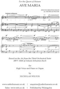 Picture of Sheet music  for soprano and keyboard. A setting of the Latin prayer to the Queen of Heaven. Nicholas Wilton uses the Air from Bach's Third Orchestral Suite for his beautifully conceived work. (This is a licence to print 2 copies for performance.)